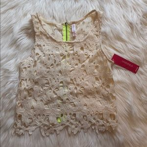 Lace Crop Top white size XS